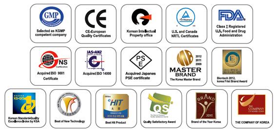 AlkaViva VESTA H2 Wasser-Ionisator (9 Elektroden) Reiniger (2 TOP Wasser Filter ) -Zertifizierungen